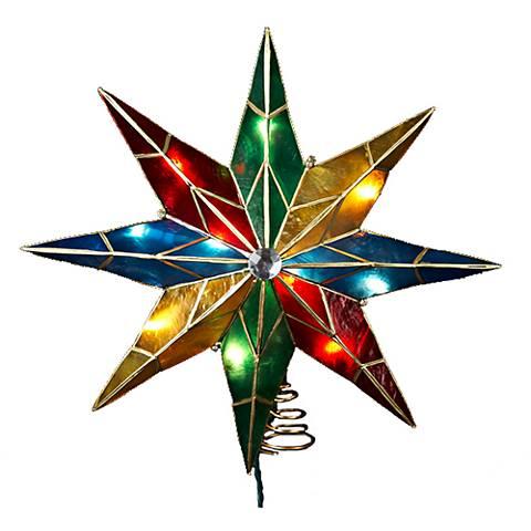 10-Light Capiz Multi-Color 8-Point Star Tree Topper