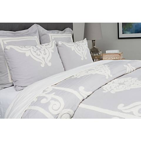 Patrina Fog Hand-Embroidered Cotton Duvet