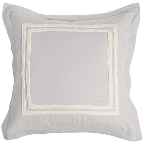 Patrina Fog Hand-Embroidered Cotton Euro Pillow Sham