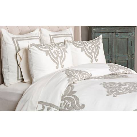 Patrina Ivory Hand-Embroidered Cotton Duvet