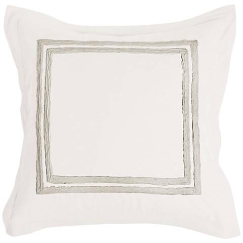 Patrina Ivory Hand-Embroidered Cotton Euro Pillow Sham