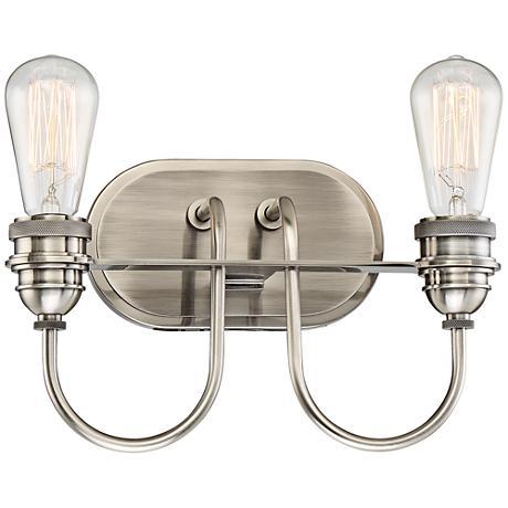 "Uptown Edison II 12 1/4"" Wide Plated Pewter Bath Light"