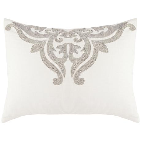 Patrina Ivory Hand-Embroidered Cotton Standard Pillow Sham