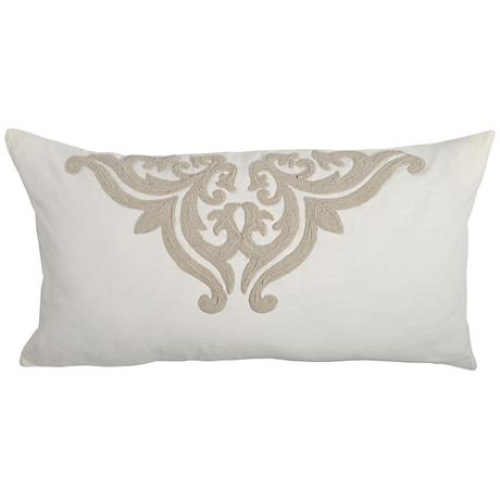 Patrina Ivory Hand-Embroidered Cotton King Pillow Sham