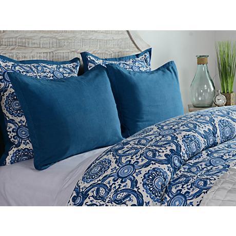 Resort Marine Blue Printed Embroidered Duvet