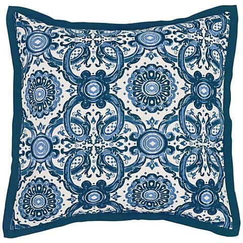 Resort Marine Blue Printed Euro Pillow Sham