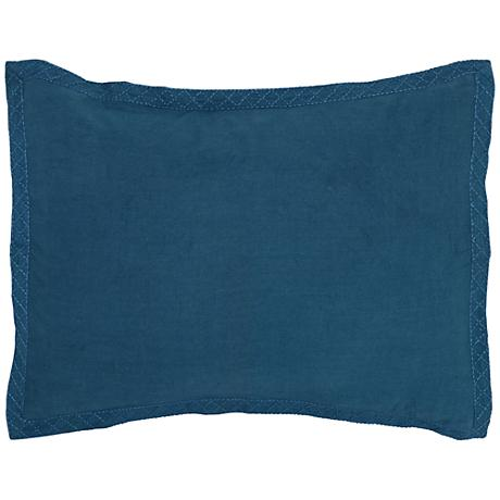 Resort Marine Blue Printed Standard Pillow Sham