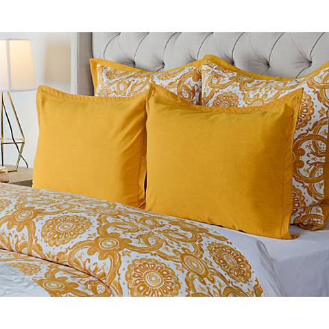 Resort Mango Yellow Printed Embroidered Duvet