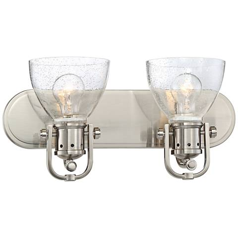 "Bath Art 2-Light 16"" Wide Brushed Nickel Bath Light"
