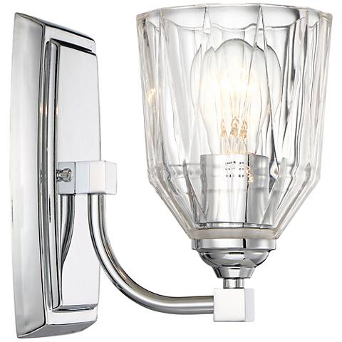 "D'or 8 1/2"" High Faceted Clear Glass Wall Sconce"