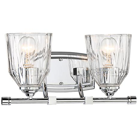 """D'or 2-Light 15"""" Wide Faceted Clear Glass Bath Light"""