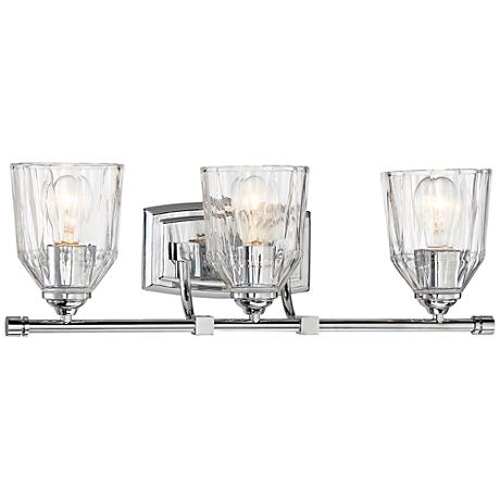 """D'or 3-Light 23 1/4"""" Wide Faceted Clear Glass Bath Light"""