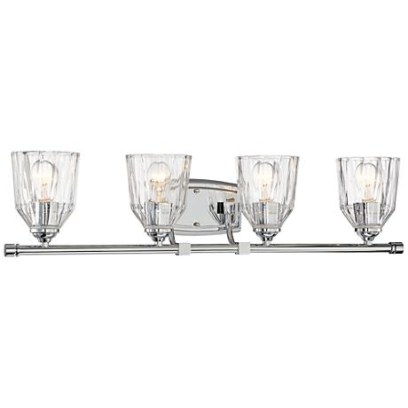 """D'or 4-Light 33"""" Wide Faceted Clear Glass Bath Light"""
