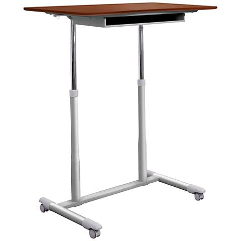 205 Cherry Mobile Stand Up Height Adjustable Desk