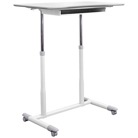 205 White Mobile Stand Up Height Adjustable Desk
