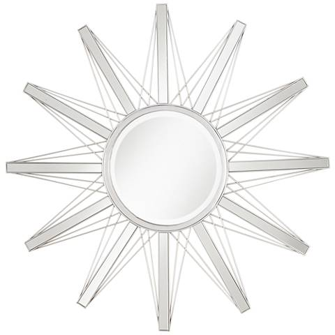 "Mulino Silver Sunburst 36 3/4"" Wide Accent Wall Mirror"