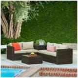 Verdugo Brown Wicker 4-Piece Outdoor Patio Lounge Set