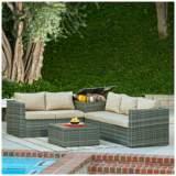 Verdugo Gray Wicker 4-Piece Outdoor Patio Lounge Set