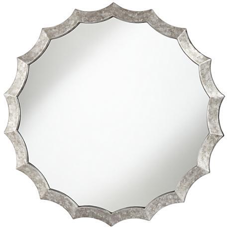 """Allbach Silver 32"""" Round Scalloped Edge Mirror"""