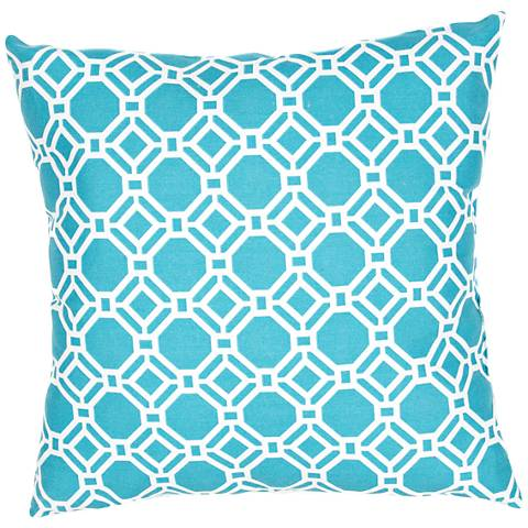 """Jaipur Veranda Trellis Turquoise Blue 20""""W Throw Pillow"""