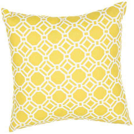 "Jaipur Veranda Trellis Yellow 20"" Wide Throw Pillow"