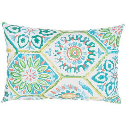"Jaipur Veranda Tile Blue and Green 13""x18"" Throw Pillow"