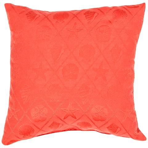 """Jaipur Veranda Seashell Poppy Red 18"""" Indoor-Outdoor Pillow"""