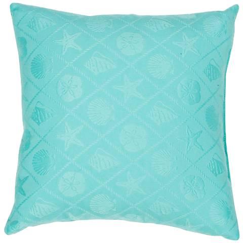 "Jaipur Veranda Seashell Turquoise 18"" Indoor-Outdoor Pillow"
