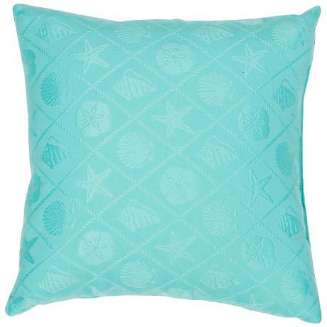 "Jaipur Veranda Seashell Turquoise 18"" Square Throw Pillow"