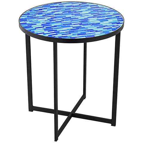 Mariana Blue Mosaic Tile Outdoor Accent Table