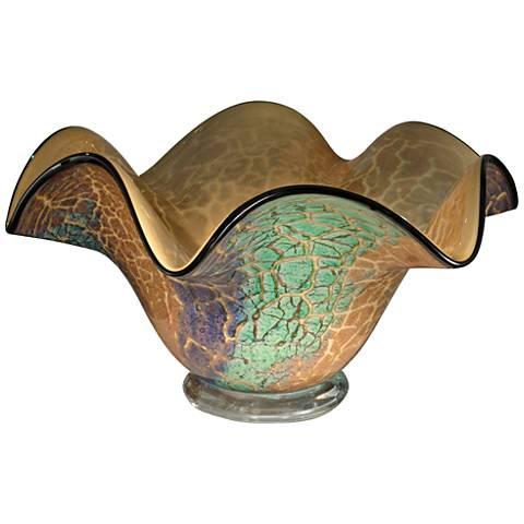 Dale Tiffany Crackle Ruffle Multi-Color Art Glass Bowl
