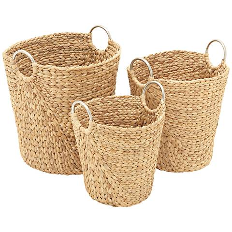 Seagrass 3-Piece Woven Basket Set with Metal Ring Handles