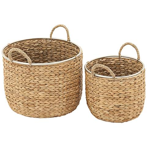Seagrass 2-Piece Round Basket Set with Parallel Sides