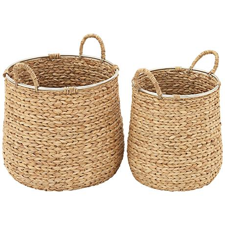 Seagrass 2-Piece Woven Round Basket Set with Shaped Sides