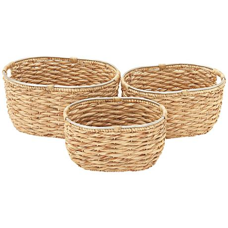 Seagrass Open-Top Oval 3-Piece Natural Woven Basket Set
