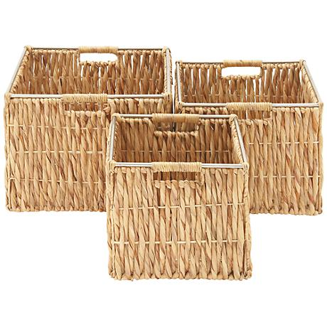Seagrass Square Vertical-Weave 3-Piece Basket Set