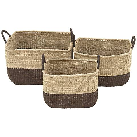 Seagrass Rectangle 3-Piece 2-Tone Tight-Weave Basket Set