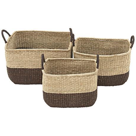 Seagrass Rectangle 3-Piece 2-Tone Tight-Weave Basket Set