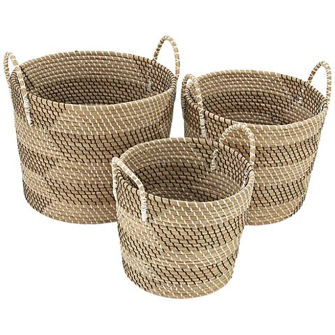 Seagrass Round 3-Piece Multi-Tone Woven Basket Set