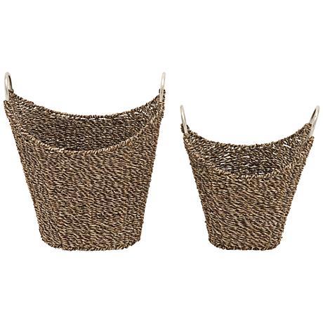 Flatsedge Seagrass Dark Brown Natural 2-Piece Basket Set