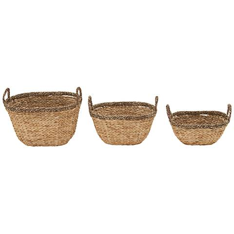 Smooth 2-Tone Flatsedge Seagrass 3-Piece Woven Basket Set