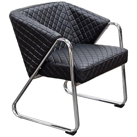 Retro Black Bonded Leather Diamond Tufted Quilt Accent Chair
