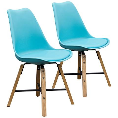Coda Turquoise Leatherette Dining Chairs Set of 2