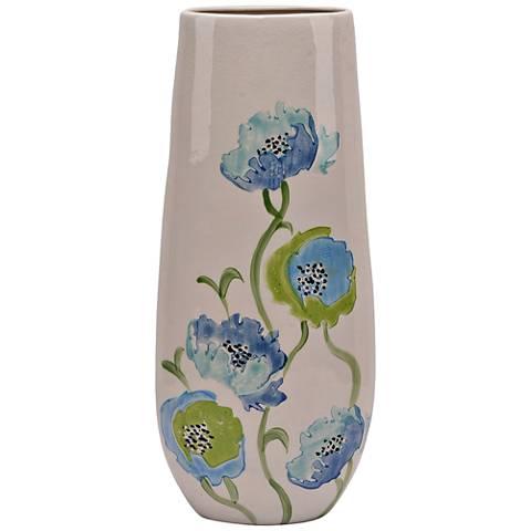"Edena 22"" High Beige Blue Green Floral Tall Ceramic Vase"