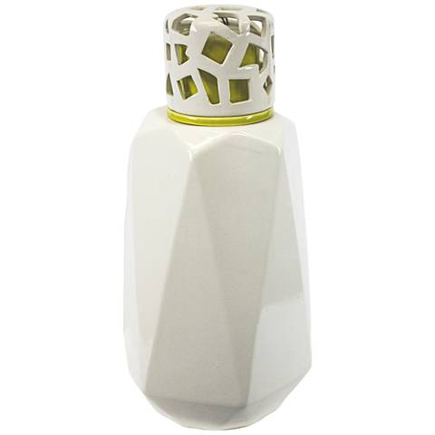 """Geodesign 13 1/4"""" High Green and White Covered Jar"""