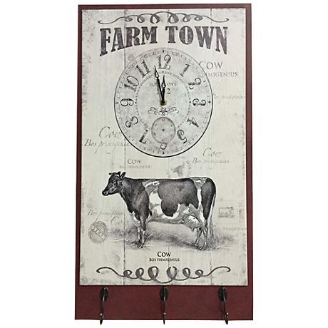 "Farm Town Rustic 17"" High Wood Wall Clock"