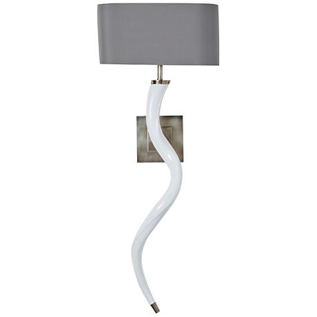 """Windsor Smith 34"""" High Vintage Silver and White Wall Sconce"""