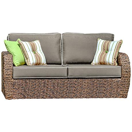 Pelican Cove Brown Weave and Canvas Taupe Outdoor Loveseat