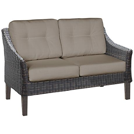 San Marino Brown Weave and Cast Ash Outdoor Loveseat