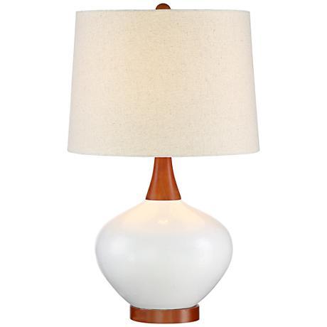 brice mid century ivory ceramic table lamp 9h567 lamps plus. Black Bedroom Furniture Sets. Home Design Ideas